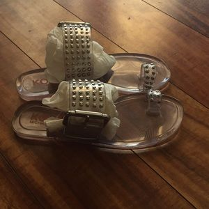 Michael Kor size 5 clear stud jelly's